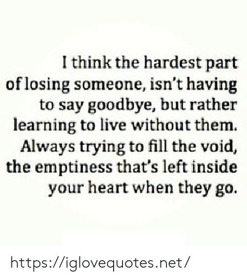 emptiness: I think the hardest part  of losing someone, isn't having  to say goodbye, but rather  learning to live without them.  Always trying to fill the void,  the emptiness that's left inside  your heart when they go. https://iglovequotes.net/