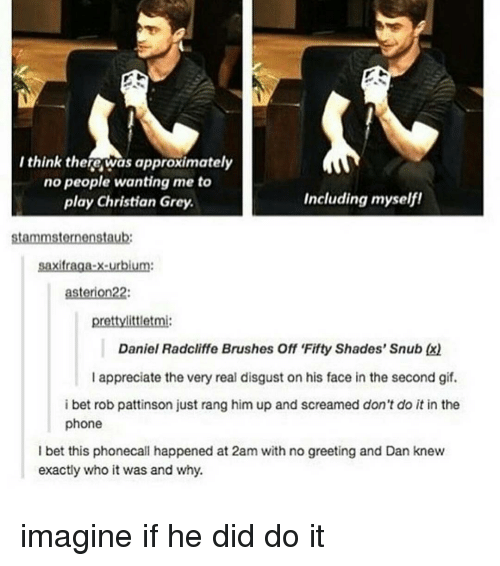 christian grey: I think there was approximately  no people wanting me to  Including myself!  play Christian Grey.  stammsternenstaub:  Saxifraga-x-urbium:  asterion22:  pretty littletmi:  Daniel Radcliffe Brushes Off Fifty Shades' Snub Ex)  I appreciate the very real disgust on his face in the second gif.  i bet rob pattinson just rang him up and screamed don't do it in the  phone  I bet this phonecall happened at 2am with no greeting and Dan knew  exactly who it was and why. imagine if he did do it