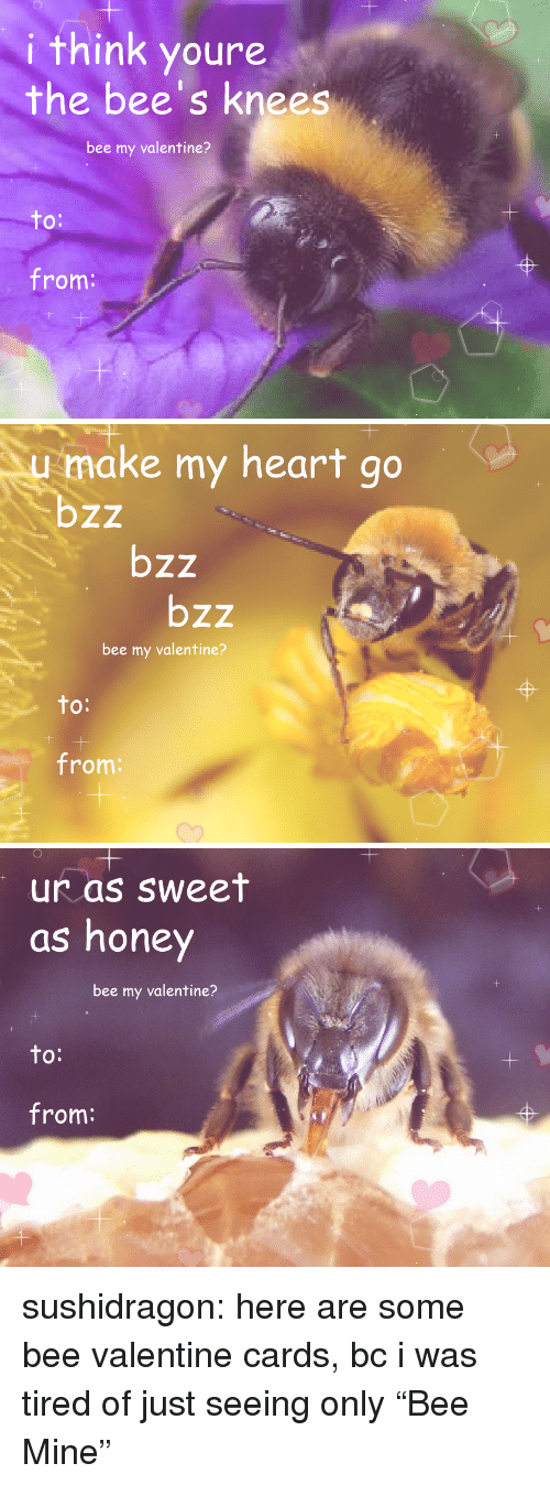 "bees knees: i think youre  the bee's knees  bee my valentine?  to  O:  from:   1  make my heart go  bzz  bzz  bzz  bee my valentine?  to  O:  from:   1  1  ur as sweet  as honey  bee my valentine?  to:  from: sushidragon: here are some bee valentine cards, bc i was tired of just seeing only ""Bee Mine"""