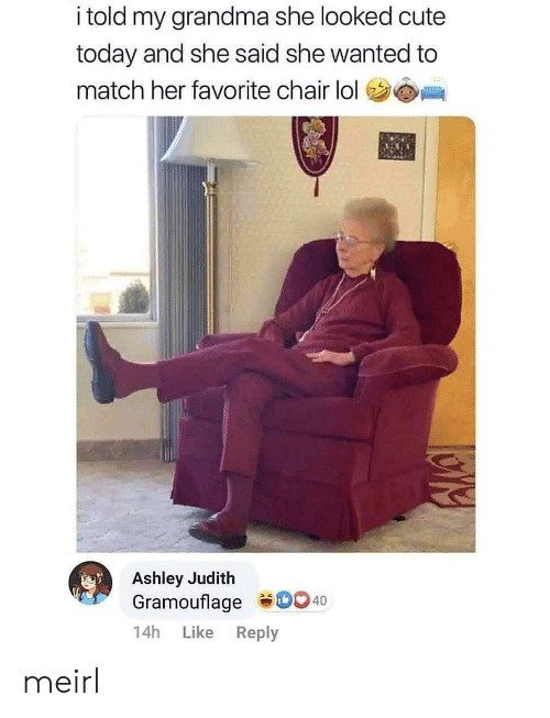 Judith: i told my grandma she looked cute  today and she said she wanted to  match her favorite chair lol  Ashley Judith  Gramouflage D0 40  14h  Like  Reply meirl