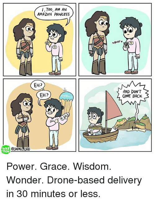 eh eh: I, Too, AM AN  AMAZON PRINCESS  EH?  EH?  AND DON'T  COME BACK  WEB  TOON  CDAMI LEE  @DAMだLEE Power. Grace. Wisdom. Wonder. Drone-based delivery in 30 minutes or less.