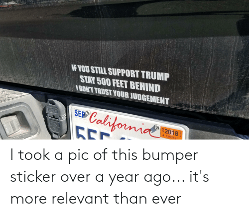 Sticker: I took a pic of this bumper sticker over a year ago... it's more relevant than ever