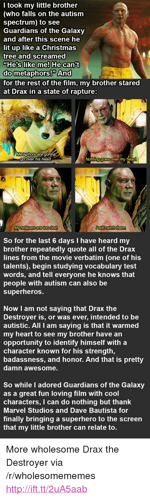 """rapture: I took my little brother  (who falls on the autism  spectrum) to see  Guardians of the Galaxy  and after this scene he  lit up like a Christmas  tree and screamed  do metaphors! And  for the rest of the film, my brother stared  at Drax in a state of rapture:  Metaphors are gonna  go over his head  Nothing goesover my head  Myreflexes are toofast  Owill catch them  So for the last 6 days I have heard my  brother repeatedly quote all of the Drax  lines from the movie verbatim (one of his  talents), begin studying vocabulary test  words, and tell everyone he knows that  people with autism can also be  superheros  Now I am not saying that Drax the  Destroyer is, or was ever, intended to be  autistic. All I am saying is that it warmed  my heart to see my brother have an  opportunity to identify himself with a  character known for his strength,  badassness, and honor. And that is pretty  damn awesome.  So while I adored Guardians of the Galaxy  as a great fun loving film with cool  characters, I can do nothing but thank  Marvel Studios and Dave Bautista for  finally bringing a superhero to the screen  that my little brother can relate to. <p>More wholesome Drax the Destroyer via /r/wholesomememes <a href=""""http://ift.tt/2uA5aab"""">http://ift.tt/2uA5aab</a></p>"""