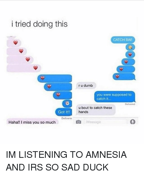 Bae, Dumb, and Irs: i tried doing this  CATCH BAE  r u dumb  you were supposed to  catch it..  onto catch be  u bout to catch these  hands  Got it!!  Delivere  Haha!! I miss you so much  曲:Message IM LISTENING TO AMNESIA AND IRS SO SAD DUCK