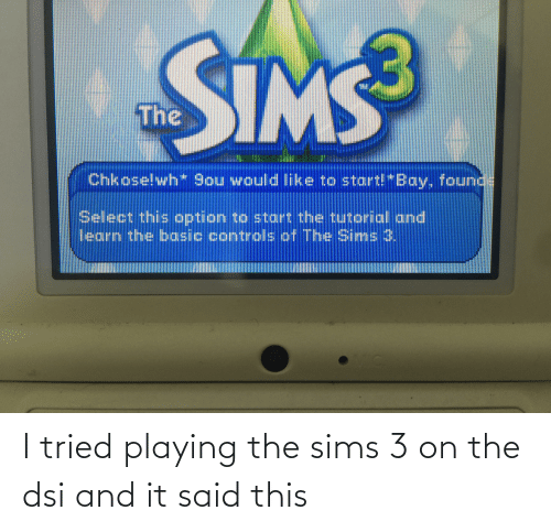 The Sims 3: I tried playing the sims 3 on the dsi and it said this
