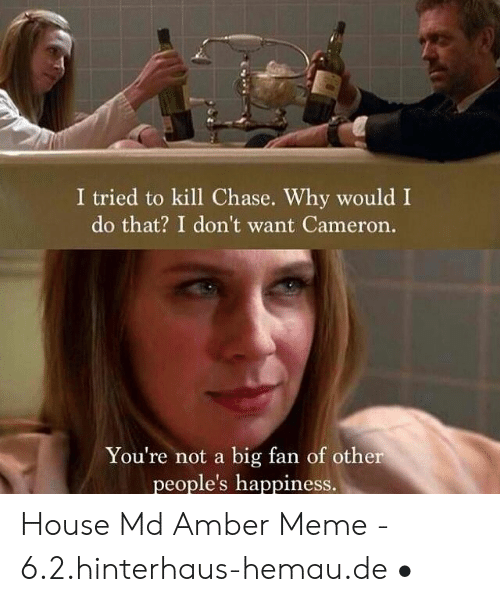 Amber Meme: I tried to kill Chase. Why would I  do that? I don't want Cameron.  You're not a big fan of other  people's happiness. House Md Amber Meme - 6.2.hinterhaus-hemau.de •