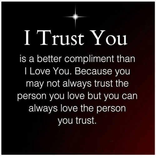 I Trust You: I Trust You  is a better compliment than  I Love You. Because you  may not always trust the  person you love but you can  always love the person  you trust.