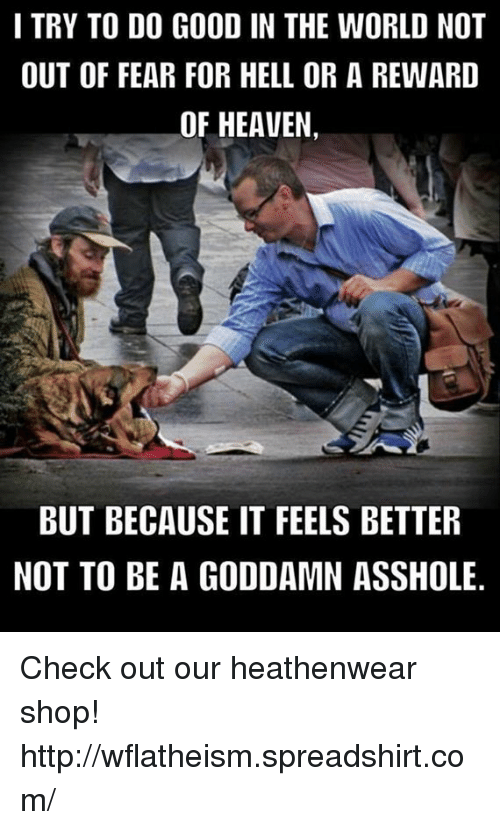 Memes, 🤖, and Shop: I TRY TO DO GOOD IN THE WORLD NOT  OUT OF FEAR FOR HELL OR A REWARD  OF HEAVEN  BUT BECAUSE IT FEELS BETTER  NOT TO BE A GODDAMN ASSHOLE. Check out our heathenwear shop! http://wflatheism.spreadshirt.com/