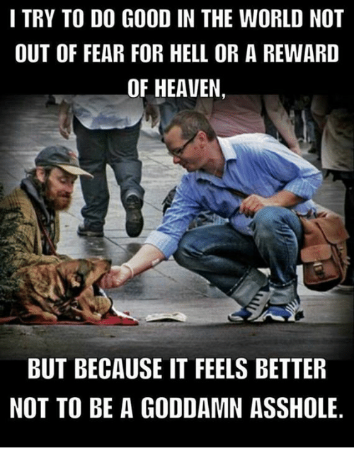 Heaven, Memes, and Good: I TRY TO DO GOOD IN THE WORLD NOT  OUT OF FEAR FOR HELL OR A REWARD  OF HEAVEN,  BUT BECAUSE IT FEELS BETTER  NOT TO BE A GODDAMN ASSHOLE.