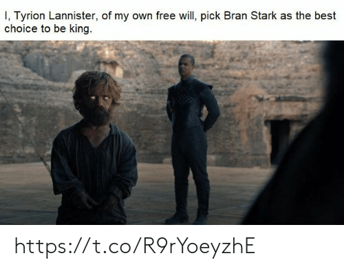 bran: I, Tyrion Lannister, of my own free will, pick Bran Stark as the best  choice to be king https://t.co/R9rYoeyzhE