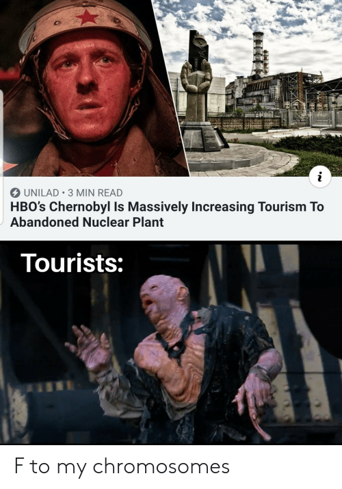 chromosomes: i  UNILAD 3 MIN READ  HBO's Chernobyl Is Massively Increasing Tourism To  Abandoned Nuclear Plant  Tourists: F to my chromosomes