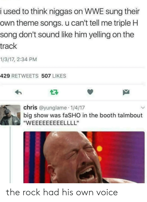 theme songs: i used to think niggas on WWE sung their  own theme songs. u can't tell me triple H  song don't sound like him yelling on the  track  1/3/17, 2:34 PM  429 RETWEETS 507 LIKES  chris @yunglame 1/4/17  big show was faSHO in the booth talmbout the rock had his own voice