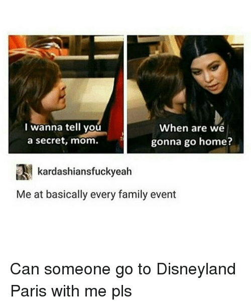 Disneyland, Family, and Memes: I wanna tell you  When are we  gonna go home?  a secret, mom.  kardashiansfuckyeah  Me at basically every family event Can someone go to Disneyland Paris with me pls