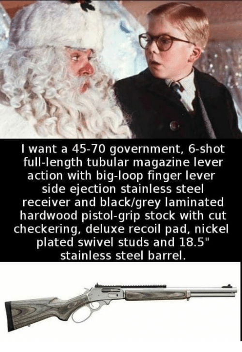 "Black, Grey, and Government: I want a 45-70 government, 6-shot  full-length tubular magazine lever  action with big-loop finger lever  side eiection stainless steel  receiver and black/grey laminated  hardwood pistol-grip stock with cut  checkering, deluxe recoil pad, nickel  plated swivel studs and 18.5""  stainless steel barrel"