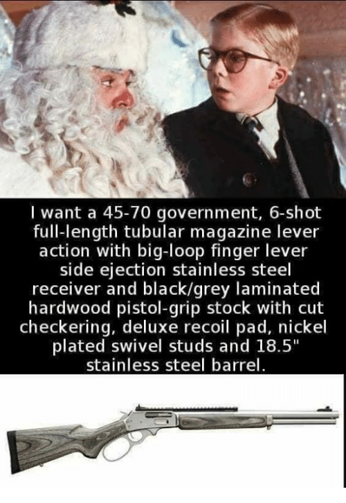 "Memes, Black, and Grey: I want a 45-70 government, 6-shot  full-length tubular magazine lever  action with big-loop finger lever  side ejection stainless steel  receiver and black/grey laminated  hardwood pistol-grip stock with cut  checkering, deluxe recoil pad, nickel  plated swivel studs and 18.5""  stainless steel barrel"