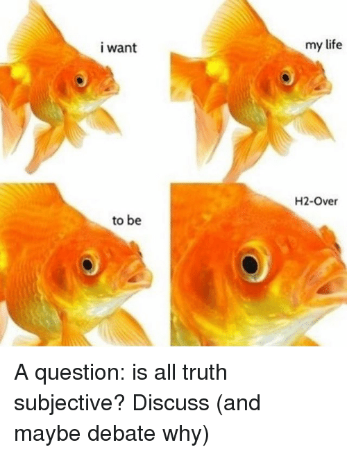 Life, Memes, and Truth: I want  my life  H2-Over  to be A question: is all truth subjective? Discuss (and maybe debate why)