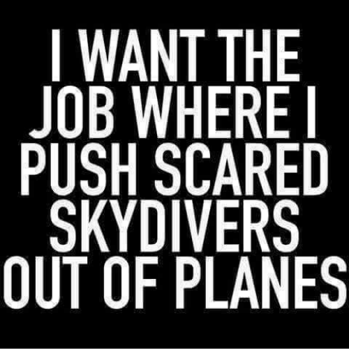skydive: I WANT THE  JOB WHERE I  PUSH SCARED  SKYDIVERS  OUT OF PLANES