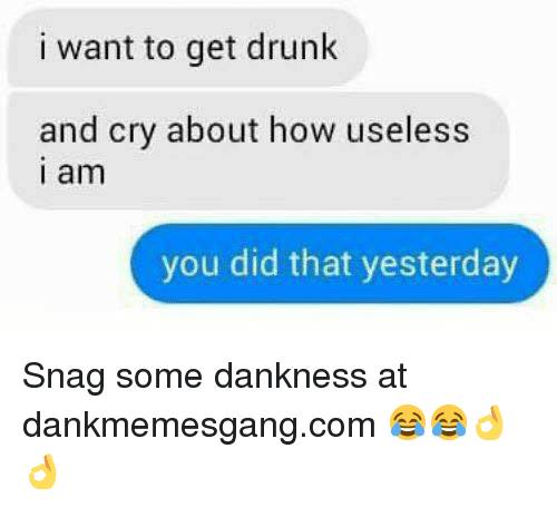 I Want To Get Drunk: i want to get drunk  and cry about how useless  i am  you did that yesterday Snag some dankness at dankmemesgang.com 😂😂👌👌