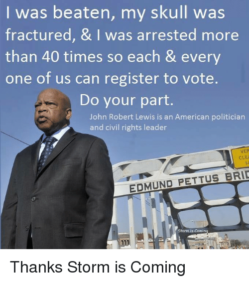 Memes, American, and Skull: I was beaten, my skull was  fractured, & I was arrested more  than 40 times so each & every  one of us can register to vote.  Do your part.  John Robert Lewis is an American politician  and civil rights leader  VER  CLEI  EDMUND PETTUS BRIE  Storm is Comin Thanks Storm is Coming