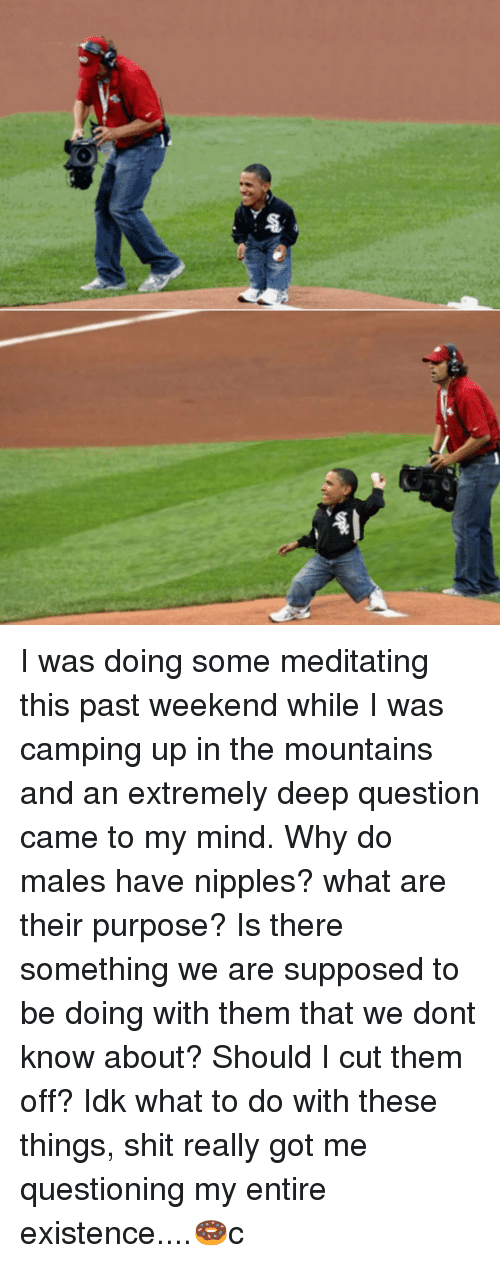 Memes, Shit, and Mind: I was doing some meditating this past weekend while I was camping up in the mountains and an extremely deep question came to my mind. Why do males have nipples? what are their purpose? Is there something we are supposed to be doing with them that we dont know about? Should I cut them off? Idk what to do with these things, shit really got me questioning my entire existence....🍩c