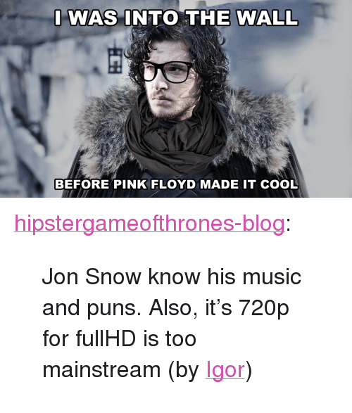 "puns: I WAS INTO THE WALL  BEFORE PINK FLOYD MADE IT COOL <p><a class=""tumblr_blog"" href=""http://hipstergameofthrones-blog.tumblr.com/post/22533805777"">hipstergameofthrones-blog</a>:</p> <blockquote> <p>Jon Snow know his music and puns. Also, it's 720p for fullHD is too mainstream (by <a href=""mailto:hayflick@gmail.com"">Igor</a>)</p> </blockquote>"