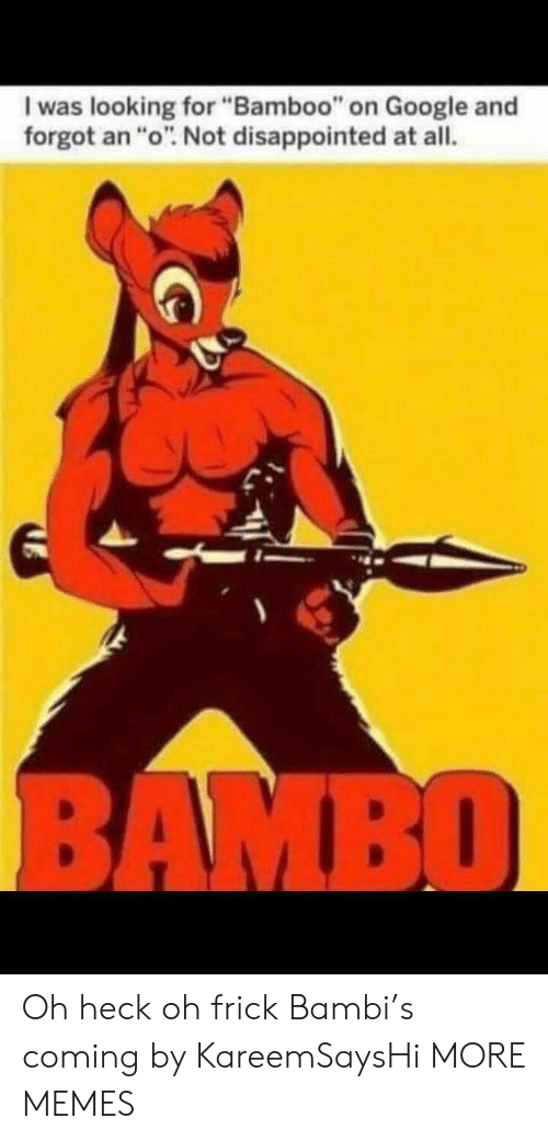 "Bambi: I was looking for ""Bamboo"" on Google and  forgot an ""o"". Not disappointed at all.  BAMBO Oh heck oh frick Bambi's coming by KareemSaysHi MORE MEMES"