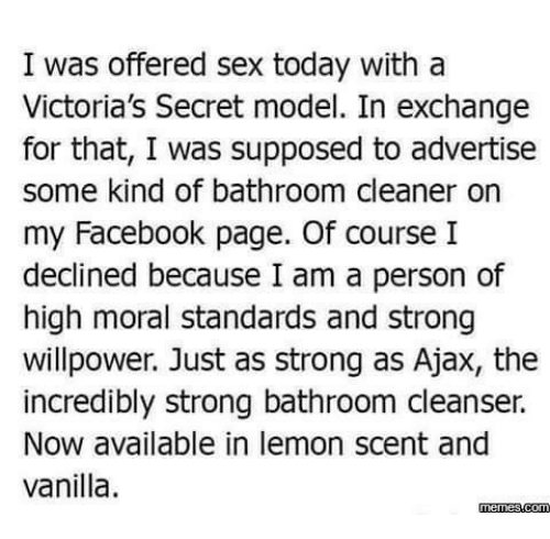 victorias secret models: I was offered sex today with a  Victoria's Secret model. In exchange  for that, I was supposed to advertise  some kind of bathroom cleaner on  my Facebook page. Of course I  declined because I am a person of  high moral standards and strong  willpower. Just as strong as Ajax, the  incredibly strong bathroom cleanser.  Now available in lemon scent and  vanilla.  memess.com
