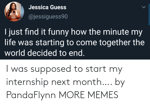 Supposed To: I was supposed to start my internship next month…. by PandaFlynn MORE MEMES
