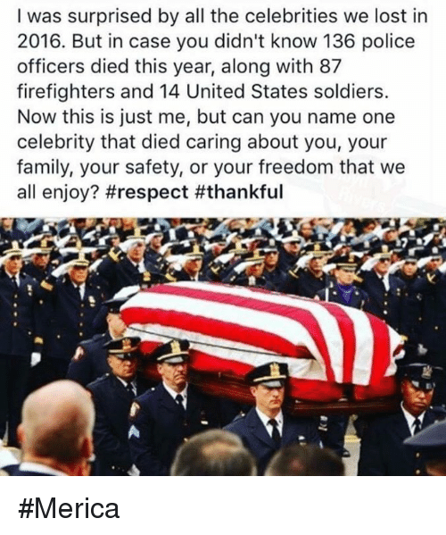 Memes, Soldiers, and Firefighter: I was surprised by all the celebrities we lost in  2016. But in case you didn't know 136 police  officers died this year, along with 87  firefighters and 14 United States soldiers.  Now this is just me, but can you name one  celebrity that died caring about you, your  family, your safety, or your freedom that we  all enjoy? #Merica