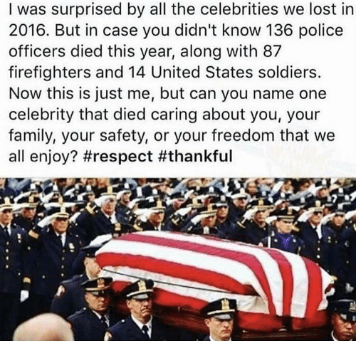 Memes, Soldiers, and Firefighter: I was surprised by all the celebrities we lost in  2016. But in case you didn't know 136 police  officers died this year, along with 87  firefighters and 14 United States soldiers.  Now this is just me, but can you name one  celebrity that died caring about you, your  family, your safety, or your freedom that we  all enjoy? #respect an