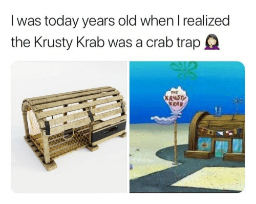 krusty krab: I was today years old when I realized  the Krusty Krab was a crab trapQ  TME  R48T  KRAB