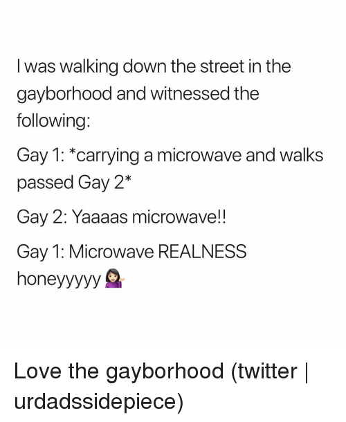 Love, Twitter, and Grindr: I was walking down the street in the  gayborhood and witnessed the  following:  Gay 1: *carrying a microwave and walks  passed Gay 2*  Gay 2: Yaaaas microwave!!  Gay 1: Microwave REALNESS  honeyyyyy S Love the gayborhood (twitter | urdadssidepiece)