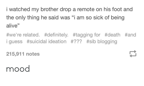 "blogging: i watched my brother drop a remote on his foot and  the only thing he said was ""i am so sick of being  alive""  #we're related. #definitely. #tagging for #death #and  i guess #suicidal ideation #??? #sib blogging  215,911 notes mood"