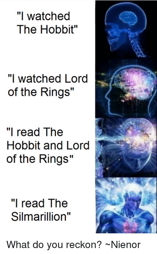 """silmarillion: """"I watched  The Hobbit""""  """"I watched Lord  of the Rings""""  """"I read The  Hobbit and Lord  of the Rings""""  """"I read The  Silmarillion  II What do you reckon? ~Nienor"""