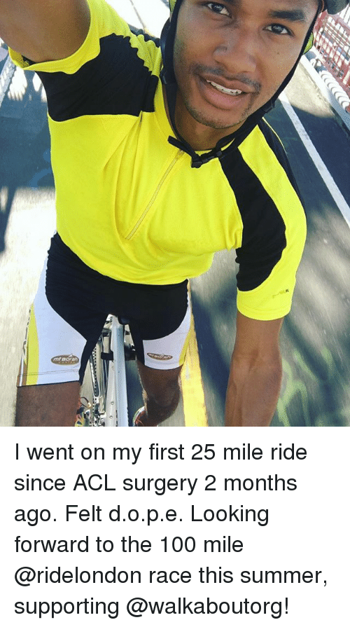 Anaconda, Memes, and Summer: I went on my first 25 mile ride since ACL surgery 2 months ago. Felt d.o.p.e. Looking forward to the 100 mile @ridelondon race this summer, supporting @walkaboutorg!