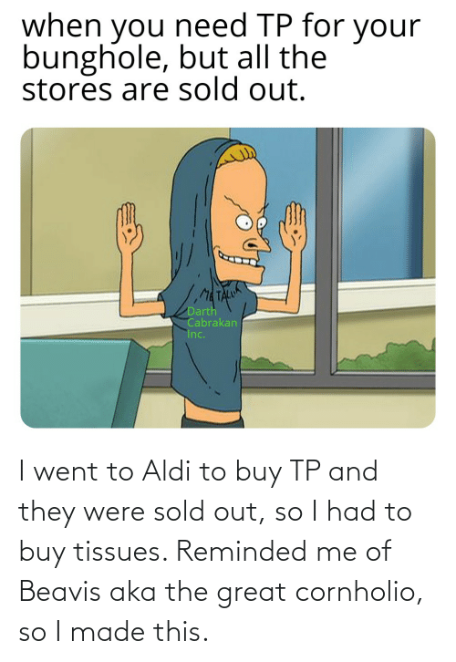beavis: I went to Aldi to buy TP and they were sold out, so I had to buy tissues. Reminded me of Beavis aka the great cornholio, so I made this.