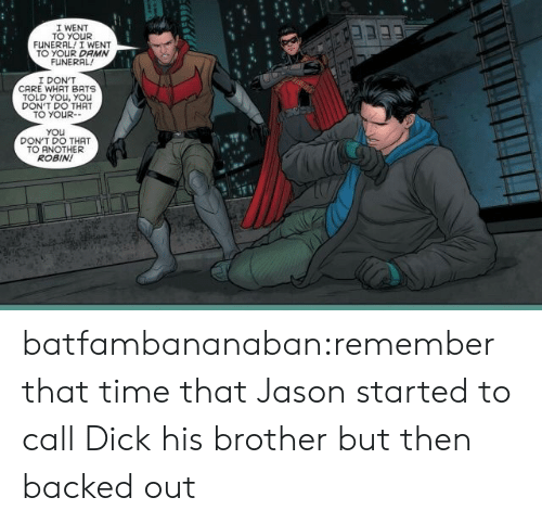 dont do that: I WENT  TO YOUR  FUNERAL! I WENT  TO YOUR DAMN  FUNERAL  I DON'T  CARE WHAT BATS  TOLD YOu, YOu  DON'T DO THAT  TO YOUR-  You  DON'T DO THAT  TO ANOTHER  ROBIN! batfambananaban:remember that time that Jason started to call Dick his brother but then backed out