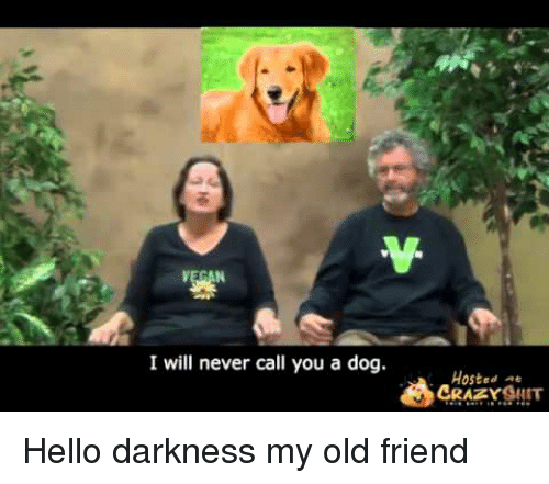 Hello Darkness, My Old Friend: I will never call you a dog.  Hosted  CRAZSIT <p>Hello darkness my old friend</p>