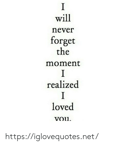 Moment I: I  will  never  forget  the  moment  I  realized  I  loved  vou https://iglovequotes.net/