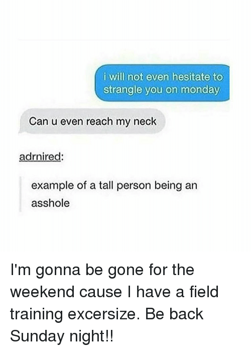 Asshols: i will not even hesitate to  strangle you on monday  Can u even reach my neck  adrnired  example of a tall person being an  asshole I'm gonna be gone for the weekend cause I have a field training excersize. Be back Sunday night!!