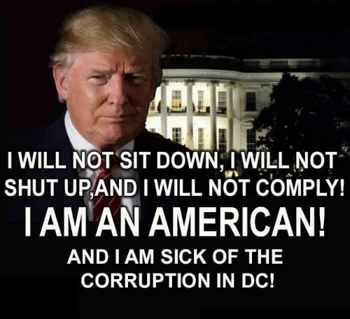 Corruption: I WILL NOT SIT DOWN, I WILL NOT  SHUT UPANDI WILL NOT COMPLY!  |AM AN AMERICAN!  AND I AM SICK OF THEE  CORRUPTION IN DC!