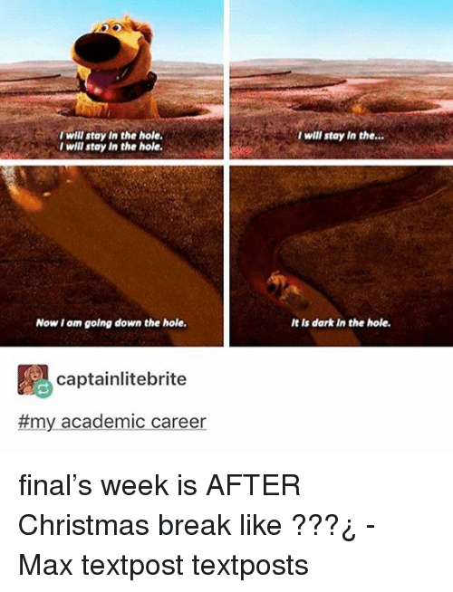 Christmas, Memes, and Break: I will stay In the hole  I will stay In the hole.  t wll stay In the..  Now t am golng down the hole  It is dark In the hole  captainlitebrite  #my academic career final's week is AFTER Christmas break like ???¿ - Max textpost textposts