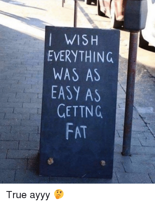 Gym, True, and Fat: I WISH  EVERYTHING  WAS AS  EASY AS  GETTNG  FAT True ayyy 🤔