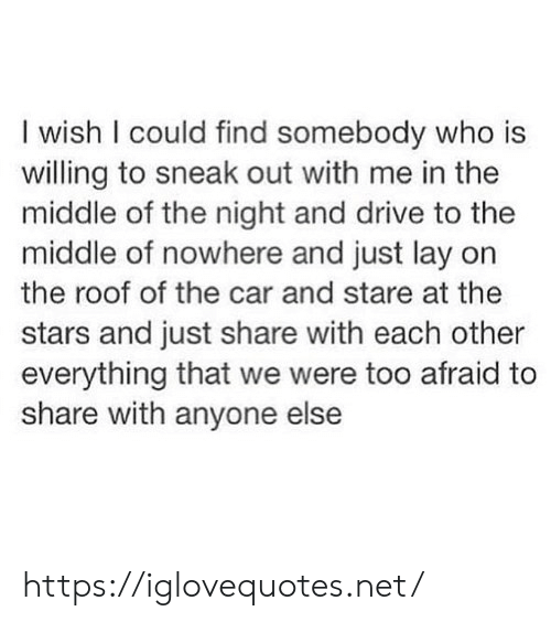 stare: I wish I could find somebody who is  willing to sneak out with me in the  middle of the night and drive to the  middle of nowhere and just lay on  the roof of the car and stare at the  stars and just share with each other  everything that we were too afraid to  share with anyone else https://iglovequotes.net/