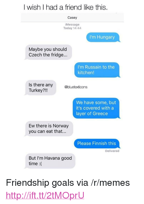 """Goals, Memes, and Good: I wish I had a friend like this.  Casey  iMessage  Today 14:44  I'm Hungary  Maybe you should  Czech the fridge...  I'm Russain to the  kitchen!  Is there any  Turkey?!!  @bluetexticons  We have some, but  it's covered with a  layer of Greece  Ew there is Norway  you can eat that...  Please Finnish this  Delivered  But I'm Havana good  time :( <p>Friendship goals via /r/memes <a href=""""http://ift.tt/2tMOprU"""">http://ift.tt/2tMOprU</a></p>"""