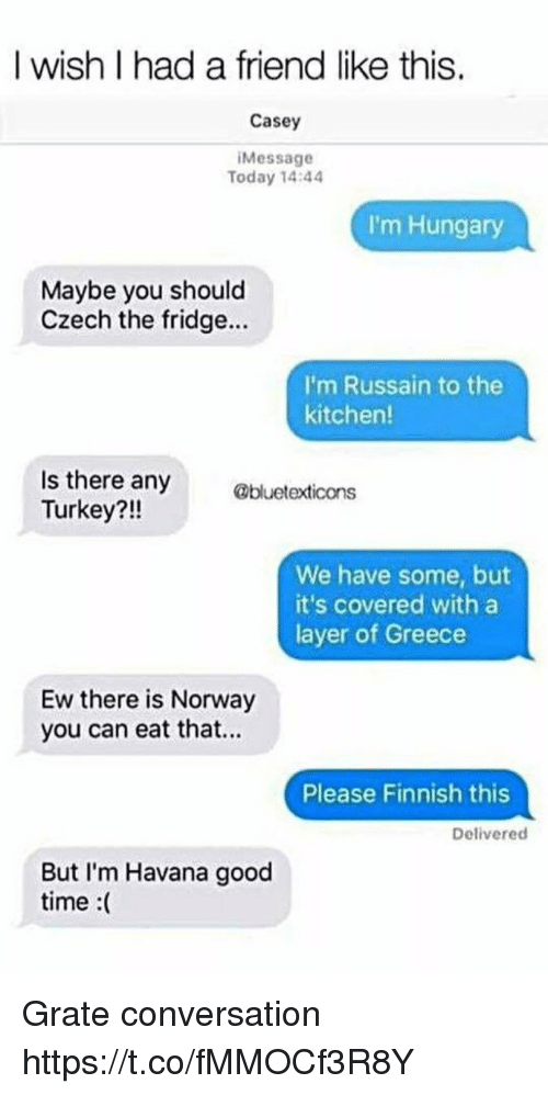 Memes, Good, and Greece: I wish I had a friend like this.  Casey  Message  Today 14:44  I'm Hungary  Maybe you should  Czech the fridge...  I'm Russain to the  kitchen  Is there any  Turkey?!!  abuetedicona  We have some, but  it's covered with a  layer of Greece  Ew there is Norway  you can eat that..  Please Finnish this  Delivered  But I'm Havana good  time :( Grate conversation https://t.co/fMMOCf3R8Y