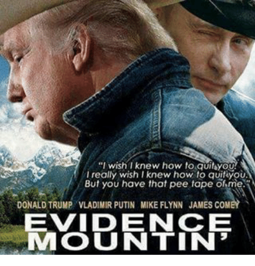 "Donald Trump, Memes, and Vladimir Putin: ""I wish I knew how to quiteyOU  really wish I knew how to quit you.  But you have that pee tape ofme.  DONALD TRUMP VLADIMIR PUTIN MIKE FLYNN JAMES COMEY  EVID ENCE  IMO U NTIN"
