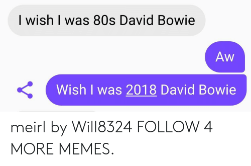 David Bowie: I wish I was 80s David Bowie  Aw  Wish I was 2018 David Bowie  Y meirl by Will8324 FOLLOW 4 MORE MEMES.