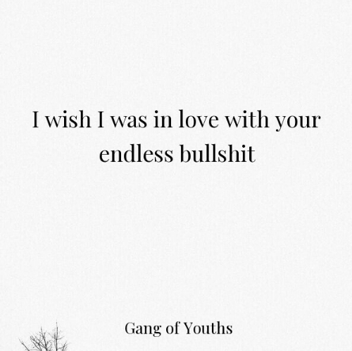 Youths: I wish I was in love with your  endless bullshit  Gang of Youths