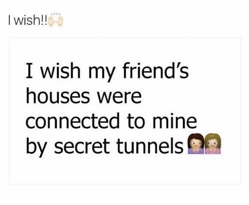 secret tunnel: I wish!!  I wish my friend's  houses were  connected to mine  by secret tunnels on